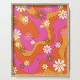 Groovy 60's and 70's Flower Power Pattern Serving Tray