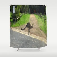 kangaroo Shower Curtains featuring Flying Kangaroo by Chris' Landscape Images & Designs
