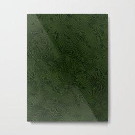 Deep Moss Green Rippled Moiré Pattern Metal Print