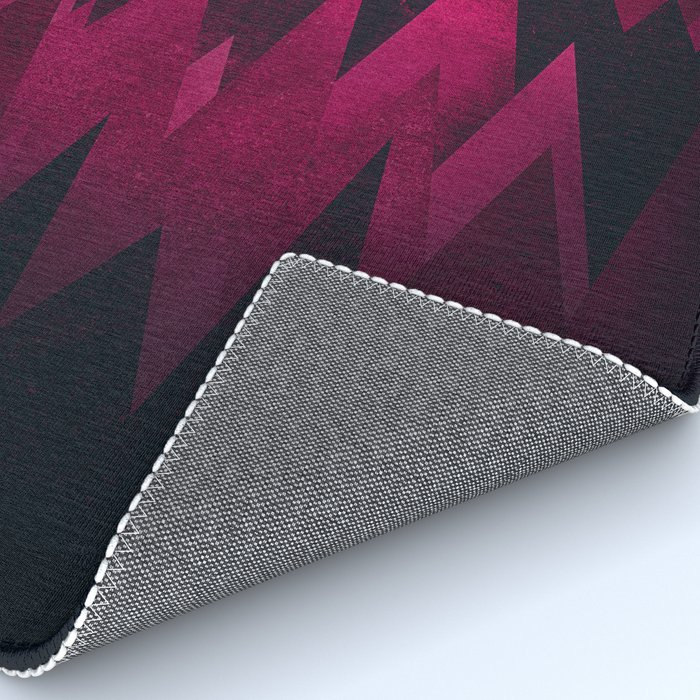 Dark Triangles (Peak Woods) Abstract Grunge Mountains Design (red/black) Rug