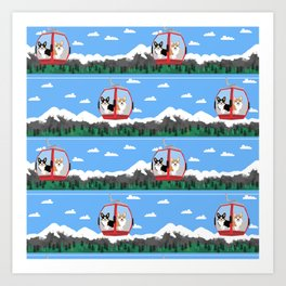 Gondola corgis telluride ski slopes custom dog Art Print
