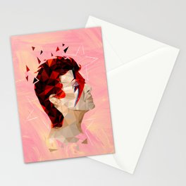 Bowie - Geometric, Mixed Media Portrait - Peach Background Stationery Cards