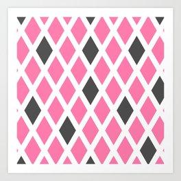 Pink and Gray Diamonds Art Print