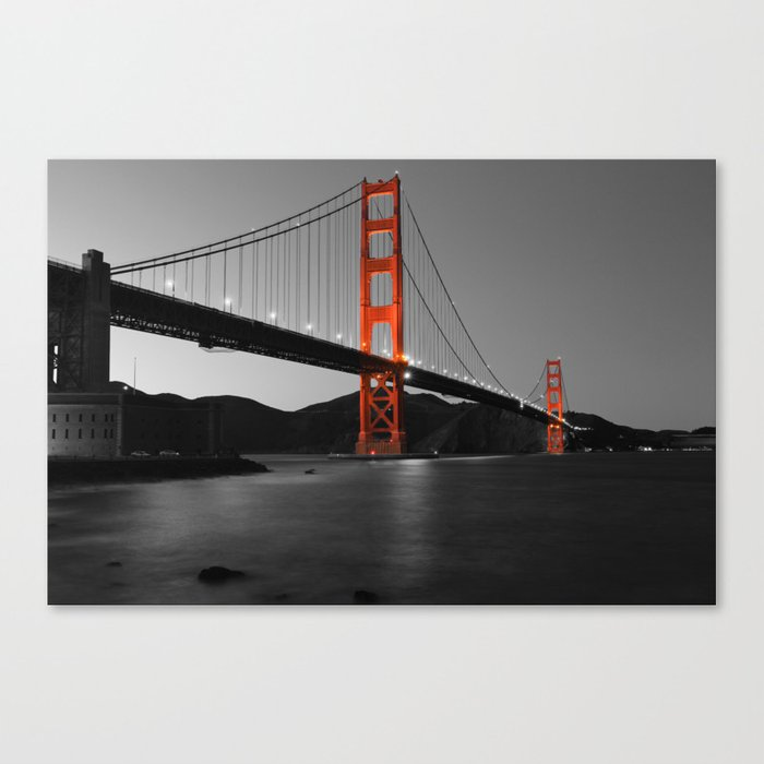 Golden Gate Bridge In Selective Black And White Canvas Print