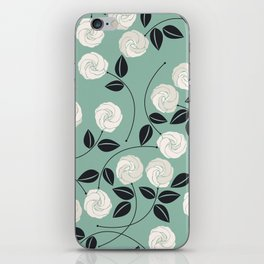 Pattern with white roses iPhone Skin