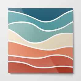 Colorful retro style waves Metal Print