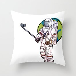 Occupy Mars design Space Astronaut Selfie Stick Throw Pillow