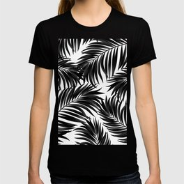 Palm Tree Fronds Black on White Maui Hawaii Tropical Graphic Design T-shirt