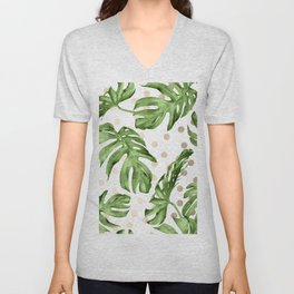 Simply Tropical White Gold Sands Dots and Palm Leaves Unisex V-Neck