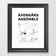 Superheroes Assembling - Black & White Framed Art Print