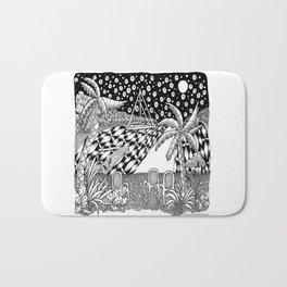 Sailboat Night at Sea - Black and White Zentangle Illustration Bath Mat