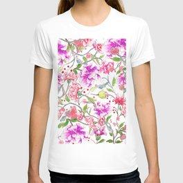 peony pattern T-shirt