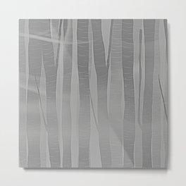 Woodland -  Minimal Grey Birch Forest Metal Print