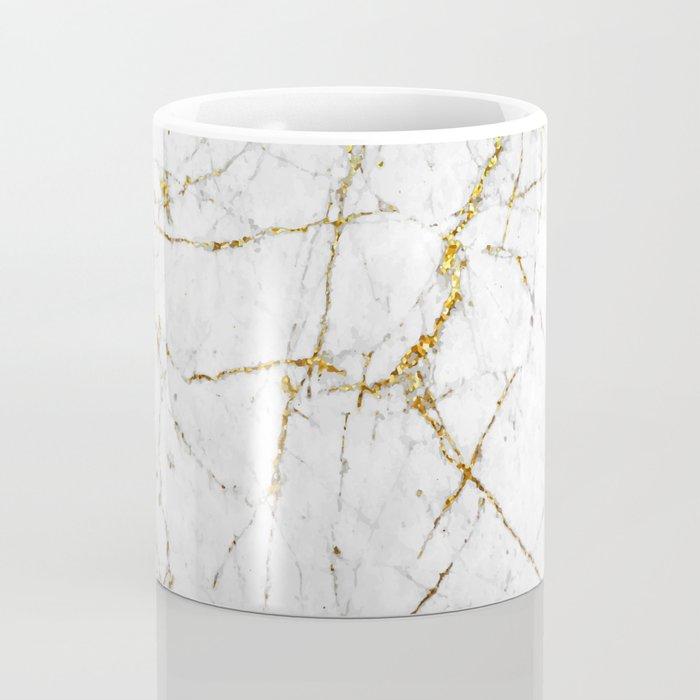 Gold Glitter and White Marble Coffee Mug