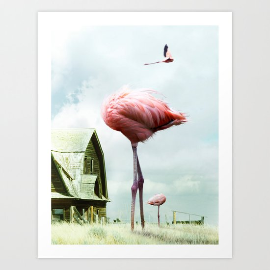 Headless Flamingos Art Print