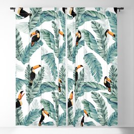 Toucans and Banana Leaves on White Blackout Curtain