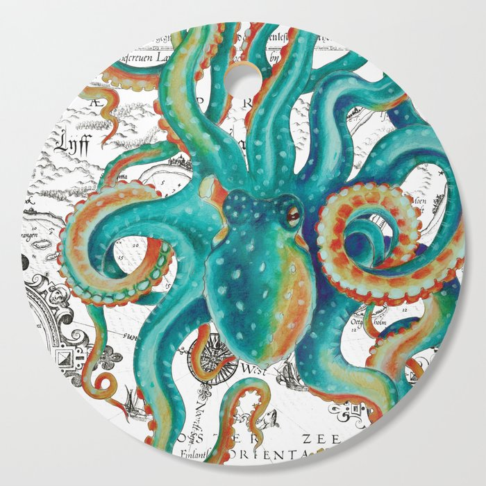 Teal Octopus Tentacles Vintage Map Nautical Cutting Board
