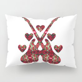 Guitars, Hearts and Roses Pillow Sham