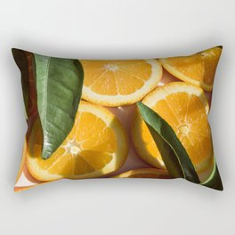 Orange Fruit Pattern Photography | Good Luck | Success | Leaves | Tropical | Happiness Rectangular Pillow