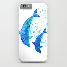 Dolphins, Blue dolphins, watercolor iPhone 6s Slim Case