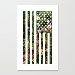 Floral USA Flag Canvas Print