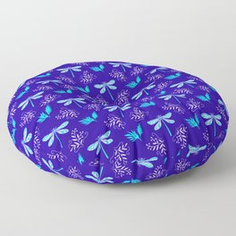 Pretty beautiful cute pink blue dragonflies, delicate little leaves elegant navy dragonfly pattern. Floor Pillow