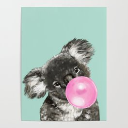 Playful Koala Bear with Bubble Gum in Green Poster