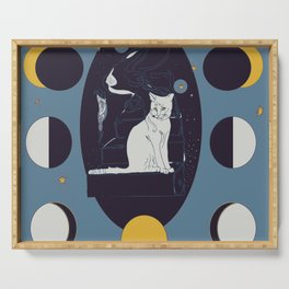 Kitty Ascension Moon Phase in Muted Blue Serving Tray