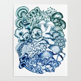 A Medley of Mushrooms in Blue Poster