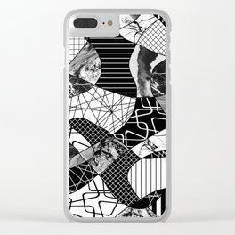 Chaotic Black And White Clear iPhone Case