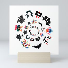 circle of Rorschach test Ink blots ! Mini Art Print