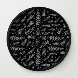 Black Leaf Pattern Wall Clock