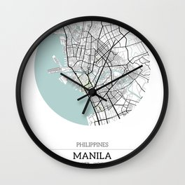 Manila Philippines City Map with GPS Coordinates Wall Clock