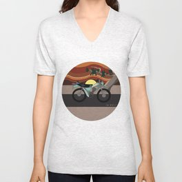 Vintage Moto on the Open Road Unisex V-Neck