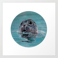 seal Art Prints featuring seal by ARTito