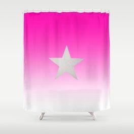 Star  Glitter effect  Pink  White Shower Curtain