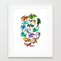 dragons Framed Art Prints featuring Dragons by prpldragon