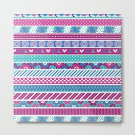 Abstract pink teal white geometrical floral patterns Metal Print