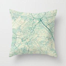 Stuttgart Map Blue Vintage Throw Pillow