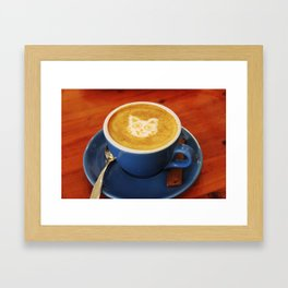 Coffee and Cats-A cat face in a coffee design Framed Art Print