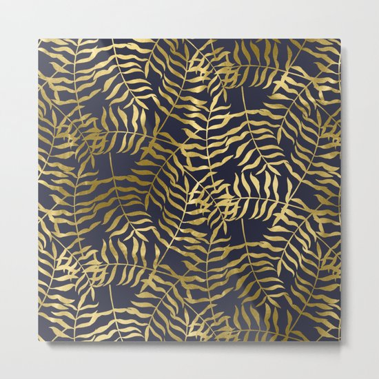 Gold Leaves on Navy Blue Metal Print