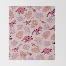 Dinosaur jungle illustration pattern hot pink girls Throw Blanket