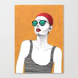 Stripe Swimmer Canvas Print