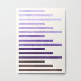 Purple Watercolor Gouache Minimalist Geometric Staggered Stripes Mid Century Art Metal Print