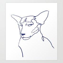 Minimal Oriental Shorthair cat line art Art Print