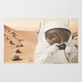 Astronaut Cat on Mars Rug