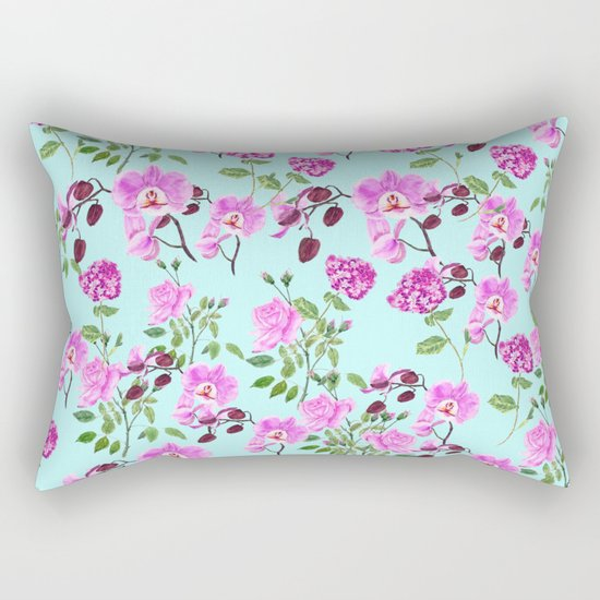 pink purple flowers watercolor painting Rectangular Pillow