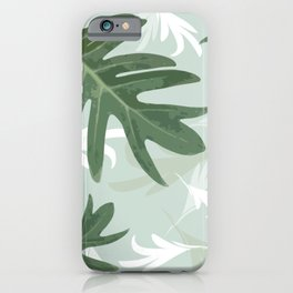 Trio Palm leaves.  greenwhite iPhone Case