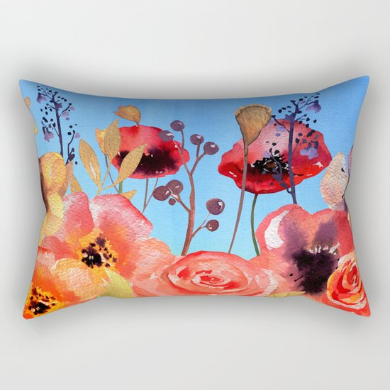 Summer meadow with Flowers and Poppies  in Twilight on #Society6 Rectangular Pillow