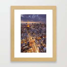 I - Tokyo, Japan skyline with the Tokyo Tower at night Framed Art Print